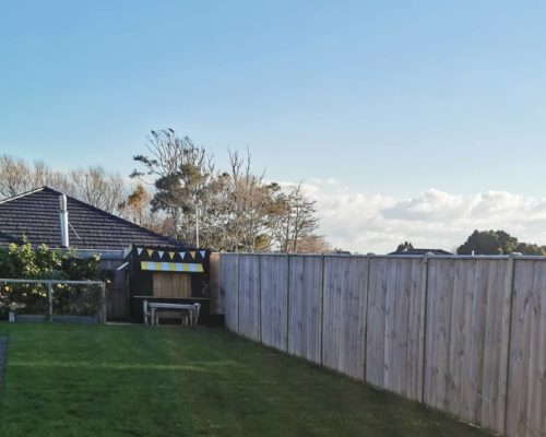 Backyard boundary fence for privacy and landscaping